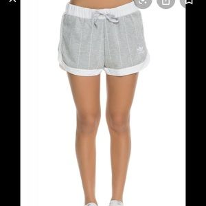 Adidas medium gray white striped loose shorts